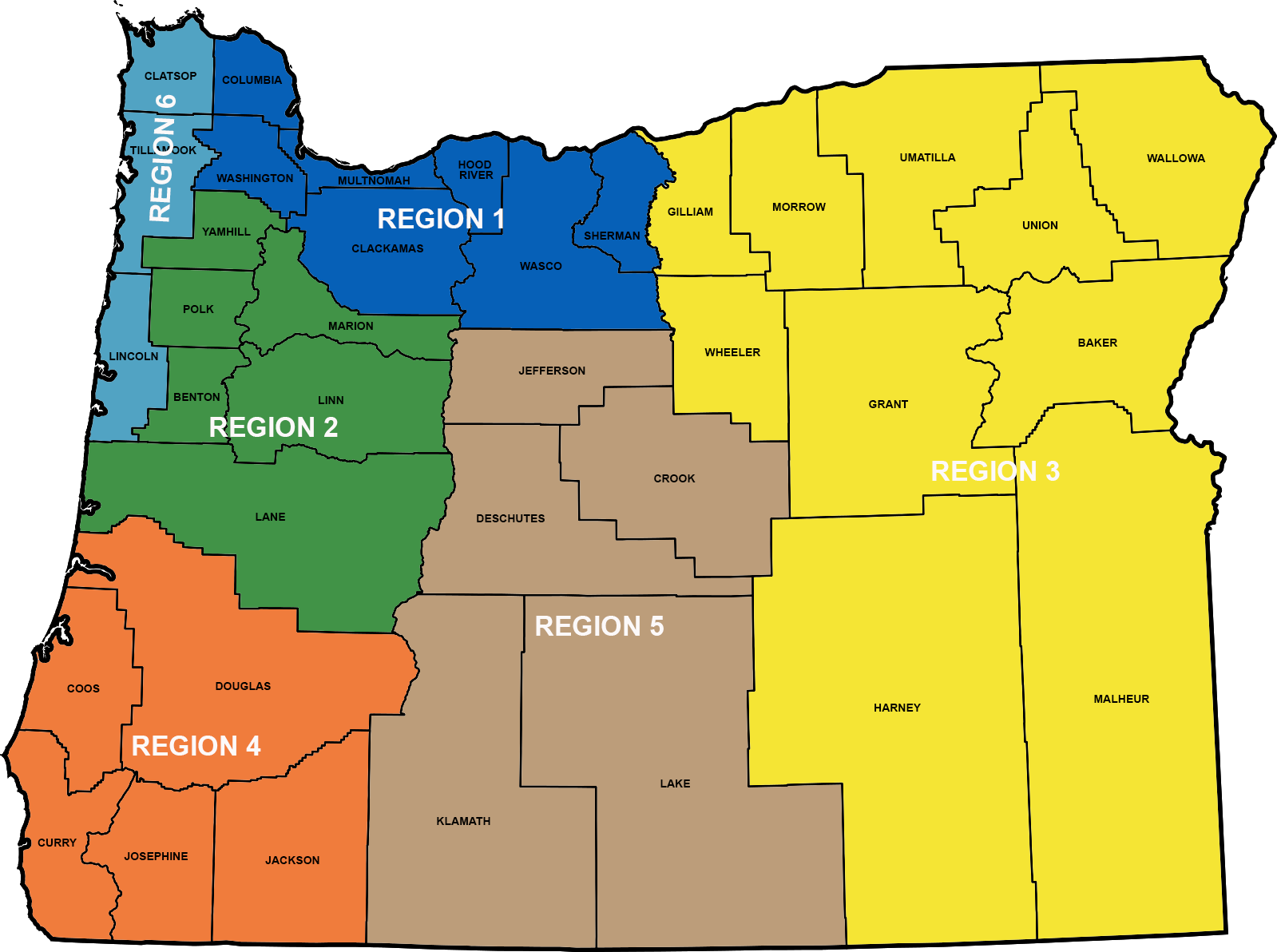 CAT 6 Region Oregon Map 2020